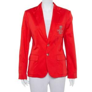 Ralph Lauren Red Cotton Logo Embroidered Blazer XL