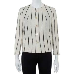Ralph Lauren Cream Striped Linen Button Front Jacket S