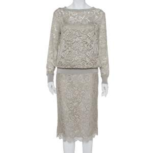 Ralph Lauren Grey Lace Top & Pencil Skirt Set S