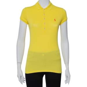 Ralph Lauren Yellow Cotton Pique Polo T-Shirt S