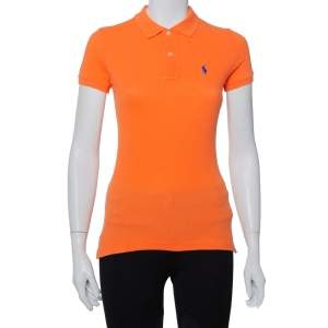 Ralph Lauren Orange Cotton Pique Skinny Polo T-Shirt XS