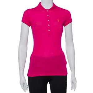 Ralph Lauren Ruby Pink Cotton Pique Polo T-Shirt XS