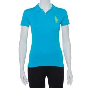 Ralph Lauren Blue Cotton Knit Slim Fit Polo T-Shirt S