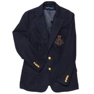 Ralph Lauren Navy Blue Embroidered Pocket Detail Two Button Wool Blazer L