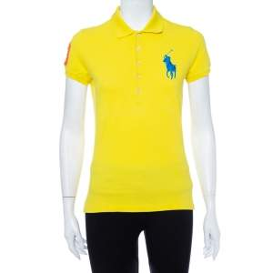 Ralph Lauren Yellow Cotton Pique Skinny Polo T-Shirt M