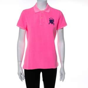 Ralph Lauren Neon Pink Cotton Pique Skinny Polo T-Shirt L