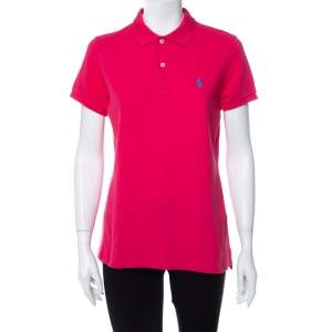 Ralph Lauren Pink Cotton Pique Skinny Polo T-Shirt L