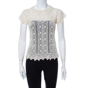 Ralph Lauren Cream Crochet Hand Knit Sheer Top M