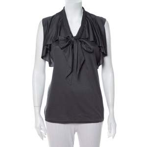 Ralph Lauren Dark Grey Lyocell Ruffled Neck Tie Detail Sleeveless Top L