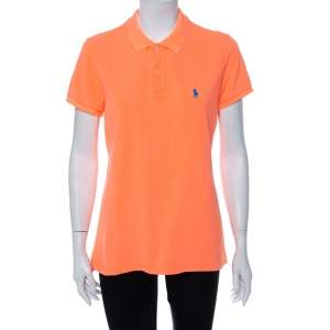 Ralph Lauren Neon Orange Cotton Pique Skinny Polo T-Shirt L