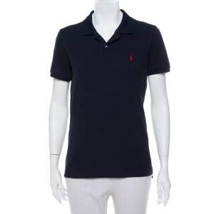 Ralph Lauren Navy Blue Cotton Pique Skinny Polo T-Shirt XL