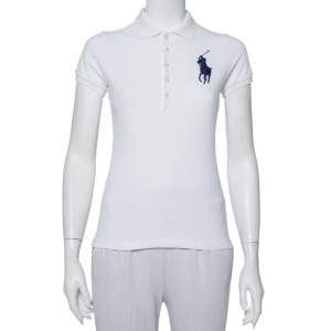 Ralph Lauren White Cotton Pique Skinny Polo T-Shirt S