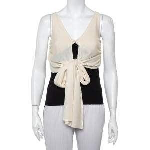 Ralph Lauren Monochrome Cashmere & Silk Front Tie Detail Sleeveless Top M