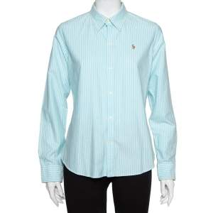 Ralph Lauren Blue Striped Cotton Button Front Slim Fit Shirt L