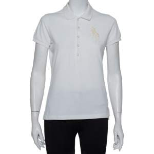 Ralph Lauren White Cotton Beaded Logo Embellished Polo T- Shirt M