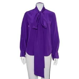Ralph Lauren Purple Silk Neck Tie Detail Button Front Shirt M