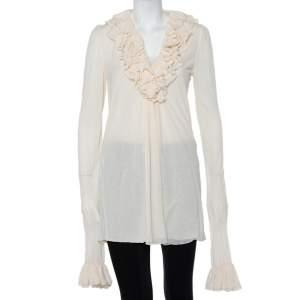 Ralph Lauren Cream Cotton Long Sleeve Ruffled Tunic M