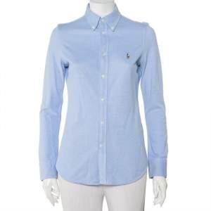 Ralph Lauren Blue Cotton Knit Oxford Button Down Shirt M