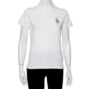 Ralph Lauren Off White Cotton Pique Logo Embroidered Polo T-Shirt L