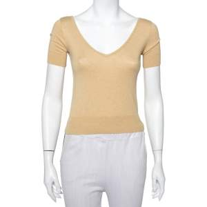 Ralph Lauren Beige Knit Plunge Neck Top XS