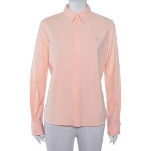 Ralph Lauren Orange Cotton Button Front Custom Fit Shirt L