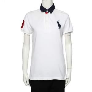 Ralph Lauren White Cotton Pique Contrast Collar Detail Polo T-Shirt L