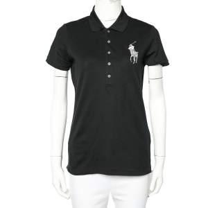 Ralph Lauren Black Cotton Pique Logo Embroidered Polo T-Shirt L