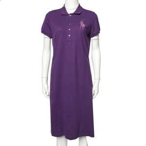 Ralph Lauren Purple Cotton Pique  Embellished Logo Detail Polo T-Shirt Dress L