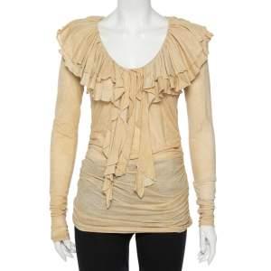 Ralph Lauren Beige Cool Dye Effect Cotton Knit Ruffle Detail Ruched Top S