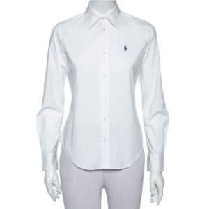 Ralph Lauren White Cotton Button Front Super Slim Fit Shirt S