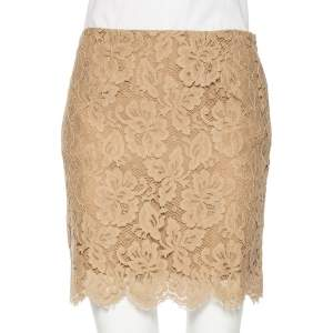 Ralph Lauren Beige Floral Lace Scallop Hem Mini Skirt M
