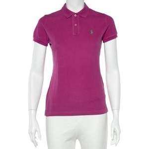 Ralph Lauren Fuchsia Cotton Pique Skinny Fit Polo T-Shirt