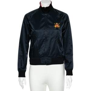 Ralph Lauren Navy Blue Logo Embroidered Synthetic Cropped Bomber Jacket S