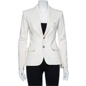 Ralph Lauren Cream Cotton Knit Applique Detail Button Front Blazer S