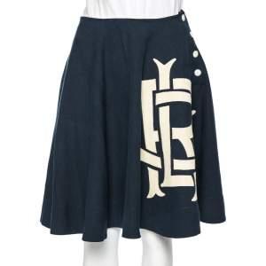 Ralph Lauren Navy Blue Linen Logoed Side Button Flared Skirt S