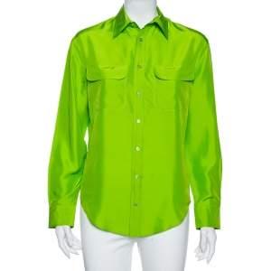 Ralph Lauren Green Silk Button Front Shirt M