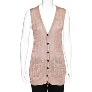 Ralph Lauren Pale Pink Linen Cable Knit Sleeveless Button Front Cardigan S