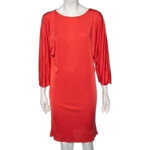 Ralph Lauren Coral Orange Silk Scoop Neck Detail Shift Dress M