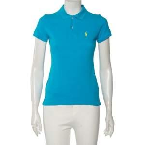Ralph Lauren Blue Cotton Pique Skinny Fit Polo T-Shirt XS