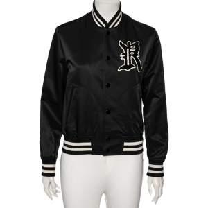 Ralph Lauren Black Jersey Contrast Trimmed Varsity Jacket S