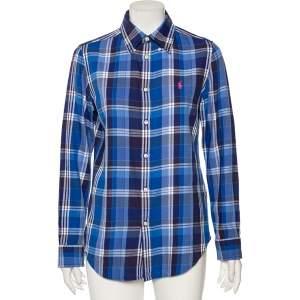 Ralph Lauren Blue Plaid Cotton Logo Embroidered Detailed Button Front Shirt S