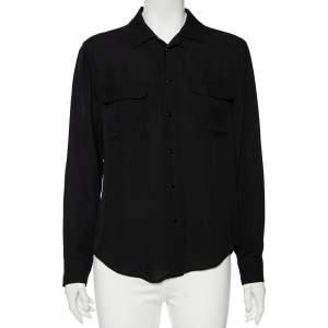 Ralph Lauren Black Silk Button Front Shirt M