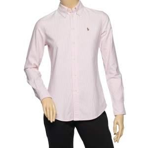 Ralph Lauren Pink-White Striped Cotton Custom Fit Shirt XS