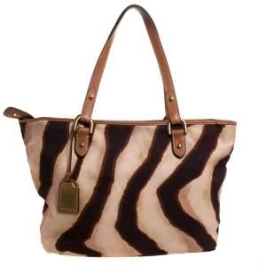 Ralph Lauren Beige/Brown Zebra Canvas and Leather Tote