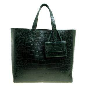 Ralph Lauren Green Alligator Easy Shopper Tote