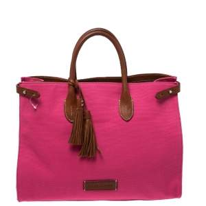 Ralph Lauren Hot Pink Canvas and Leather Tassel Tote