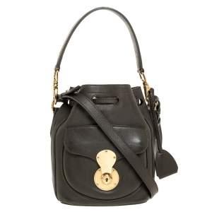 Ralph Lauren Olive Green Leather Ricky Drawstring Bucket Bag