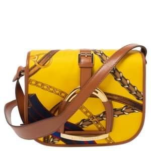 Ralph Lauren Yellow/Brown Printed Nylon and Leather Equestrian Flap Crossbody Bag
