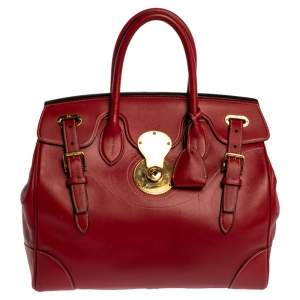Ralph Lauren Red Soft Leather Ricky 33 Tote