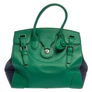 Ralph Lauren Green/Blue Leather Ricky Tote